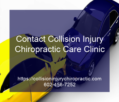 Graphic stating Contact Collision Injury Chiropractic Care Clinic