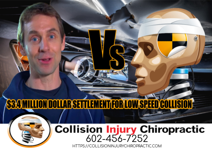 Graphic stating 3.4 MILLION SETTLEMENT FOR LOW SPEED COLLISION ACTOR Vs CRASH DUMMY